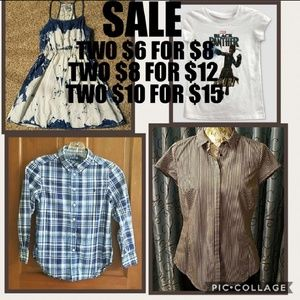 SALE! 2 $8 items, $12, 2 $6 items, $8, 2 $10, $15